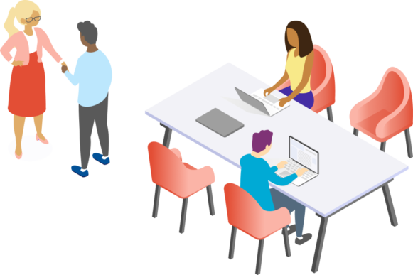 Illustrated people shaking hands and working at computers at a table