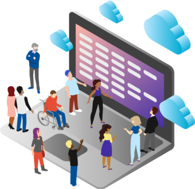 Illustrated people standing on a laptop looking at a screen of data